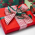 Pacco regalo con Nastro Tartan Rosso