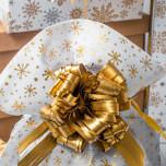 Sacco Portapanettone Canvas Cristalli Oro Bianco
