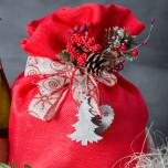Sacco Portapanettone Tessuto Canvas Rosso