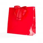 Shopper Carta Lusso Finiture Raso Rosso