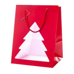 Portapanettone Christmas Red con Finestra Rosso