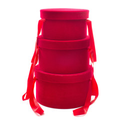 Set Cappelliere in Velluto Rosso