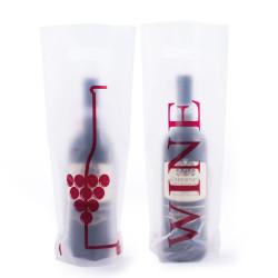 Shopper Plastica Wine con Stampa Fronte Retro Trasparente