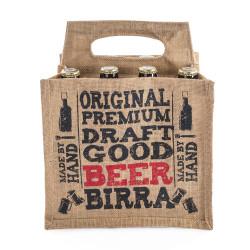 Shopper Juta Portabottiglie Birra con stampa Naturale
