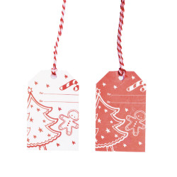 Tag Christmas Red con Cordino Mix