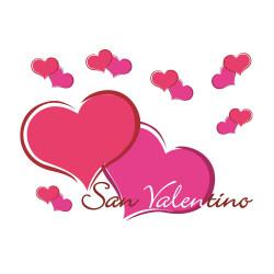 Vetrofania Cuori Fucsia San Valentino
