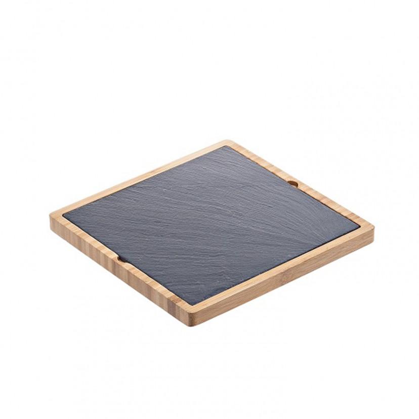 Vassoio Quadrato Bambù e Ardesia