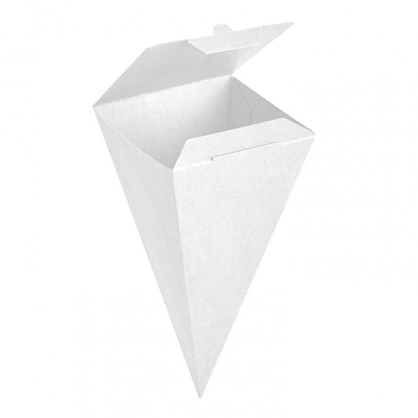 Cono per Snack Richiudibile in Cartoncino Bianco
