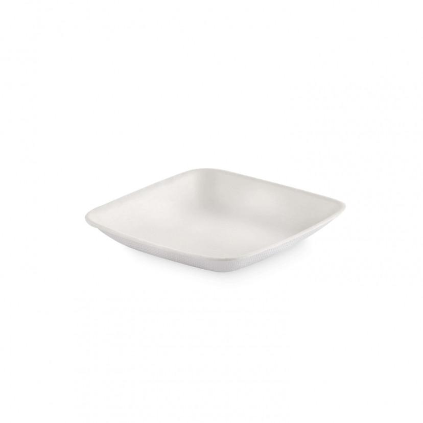 Piattino Monodose Quadrato in Polpa di Cellulosa Bianco