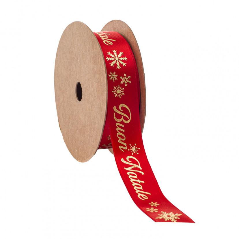 Nastro Doppio Raso Buon Natale Rosso