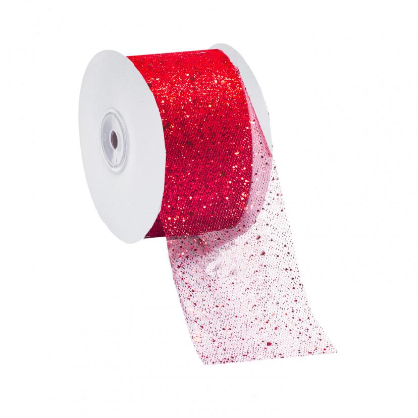 Nastro Tulle con Glitter Rosso