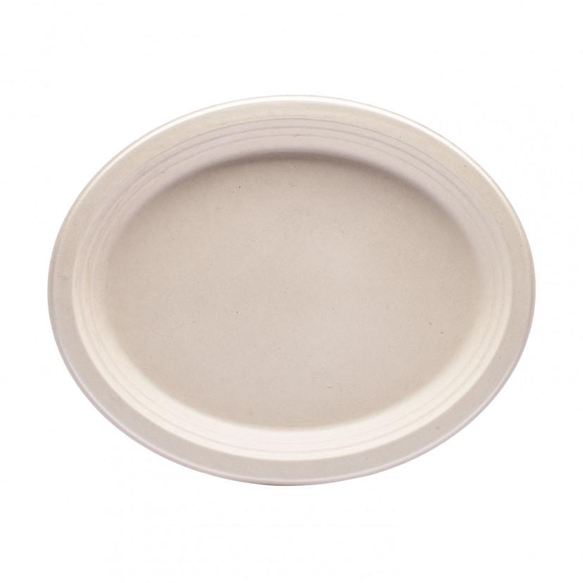 Piatto in Polpa di Cellulosa Ovale Naturale