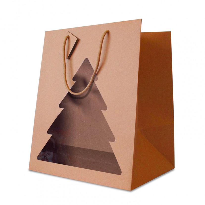 Portapanettone Christmas con Finestra Avana