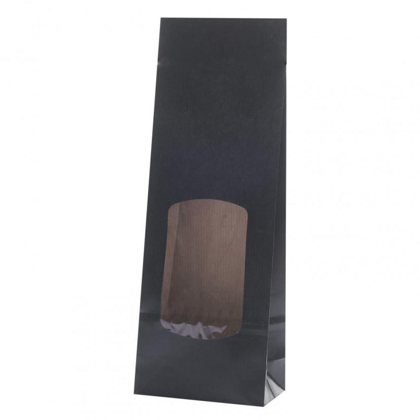 Sacchetti Carta per alimenti con finestra Nero