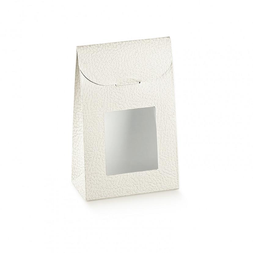 Sacchetto in cartoncino con finestra effetto pelle Avorio