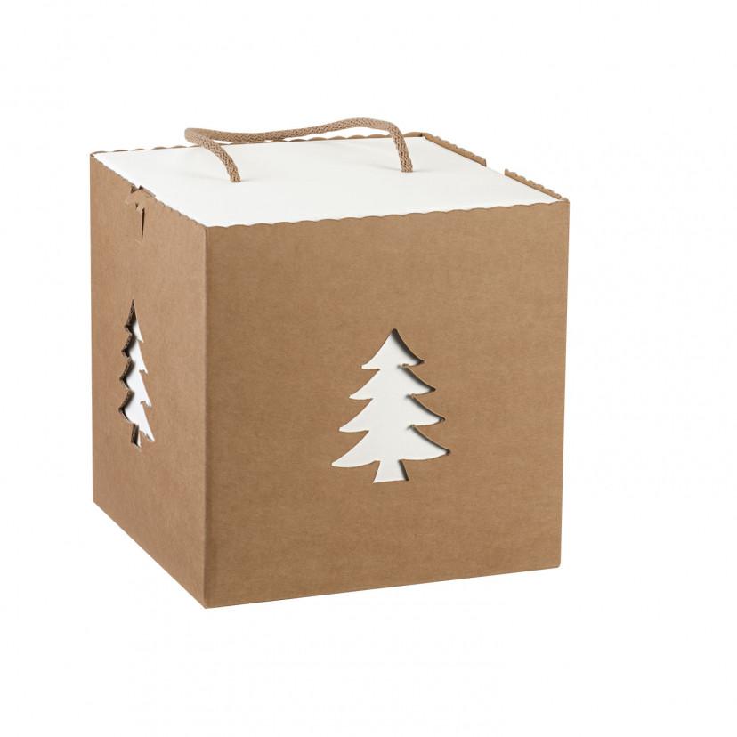 Scatola Box Albero con Cordini Kraft Avana