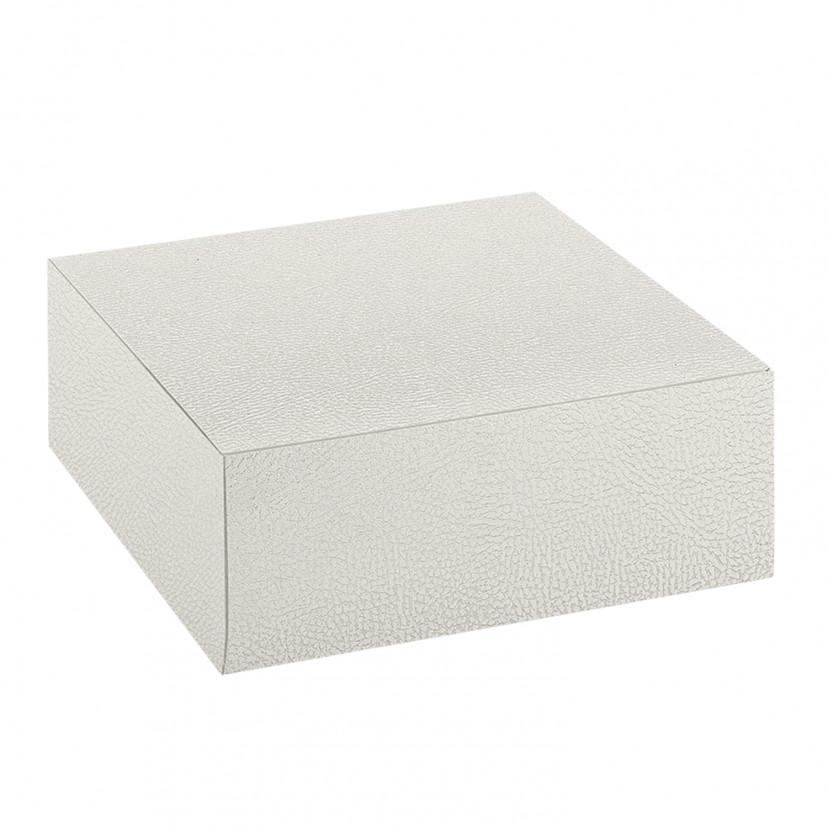 Scatola per torte quadrata effetto pelle Avorio