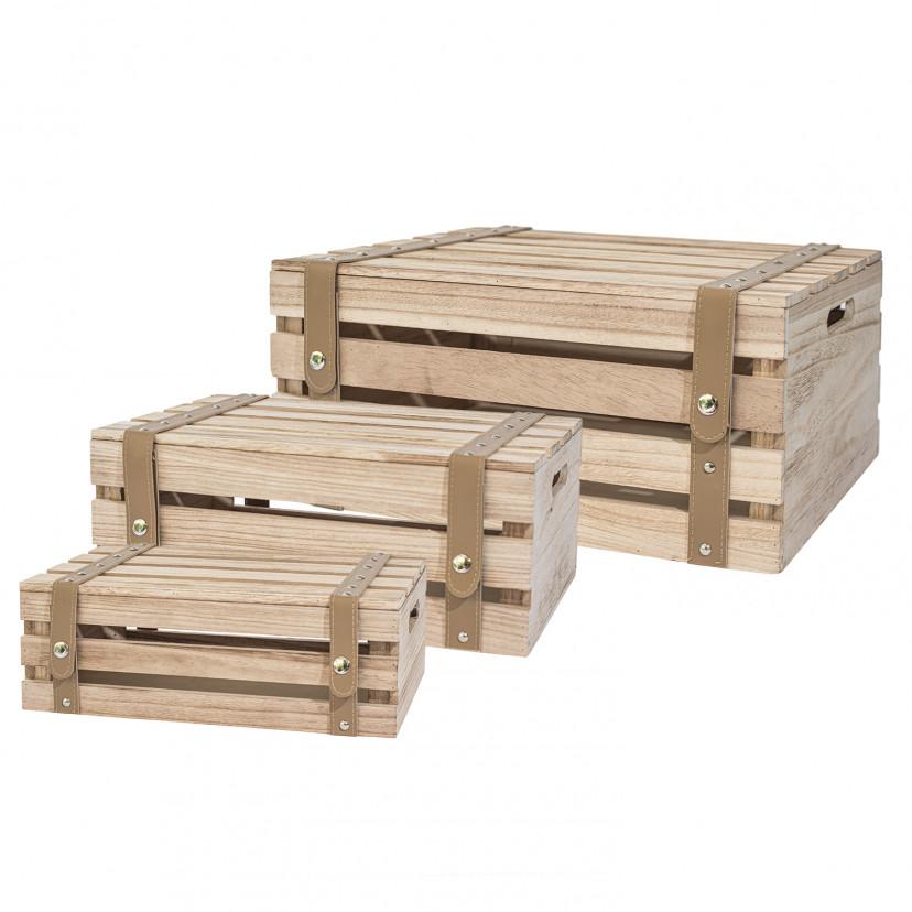 Set di 3 scatole in legno con coperchio incernierato
