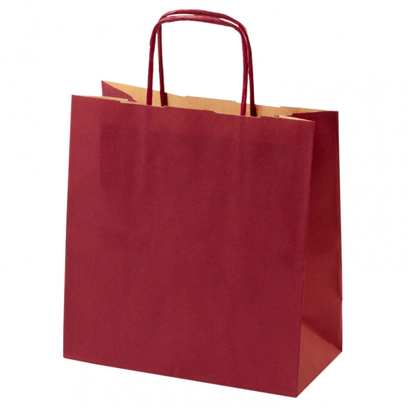 Shopper Carta Kraft Colorata Bordeaux