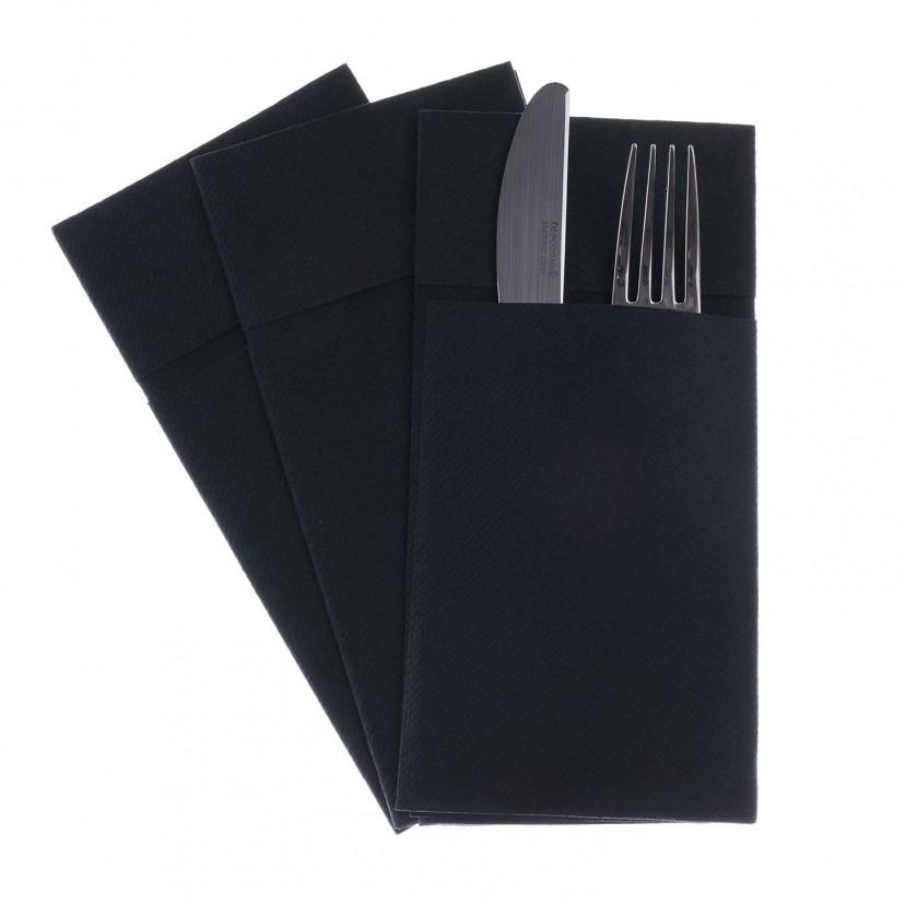 Tovagliolo Unicolor Portaposate Nero