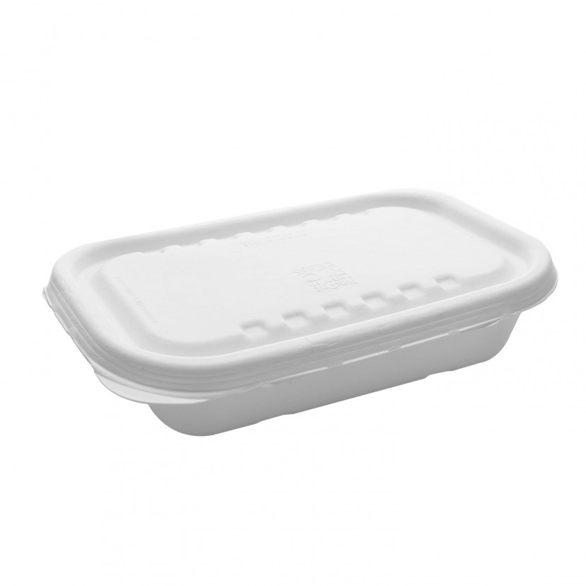 Vaschetta gelato in polpa di cellulosa con coperchio Bianco