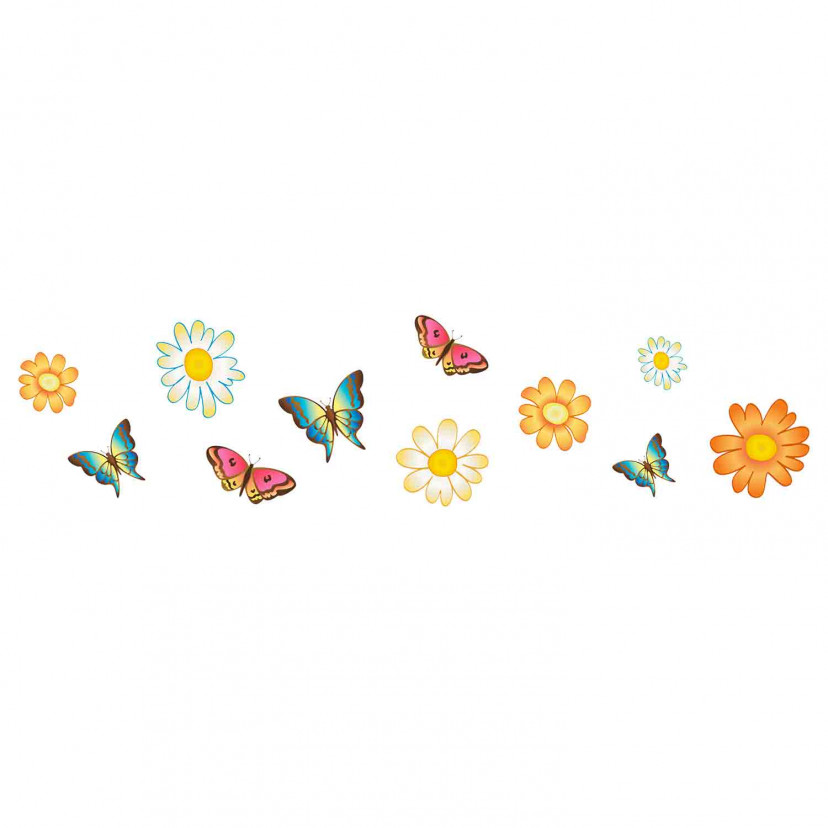 Vetrofania Farfalle e Fiori