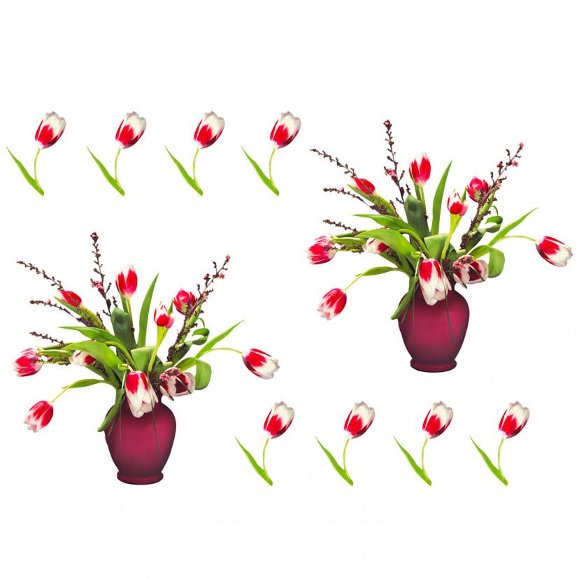 Vetrofania Vaso di Tulipani