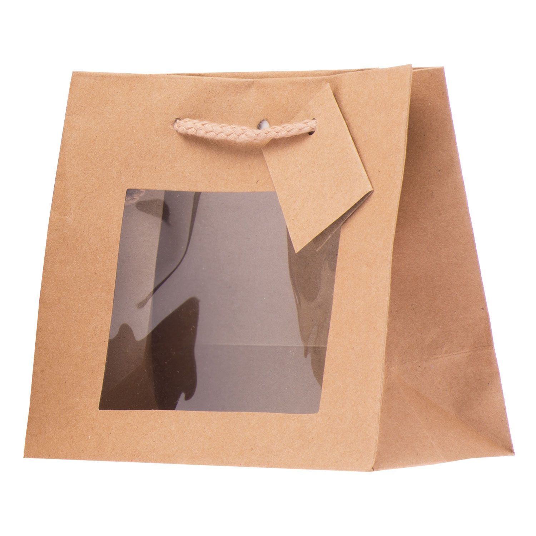 Buste Carta Riso.Shopper Carta Kraft Lusso Con Finestra Avana