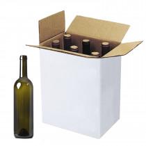 5 scatole per 3 Bottiglie Vino Verticali Modello bordolese borgognotta robuste strenne Natalizie Cartone accoppiato e Maniglia Esterna cm.27x9x38,5h Seta Rosso