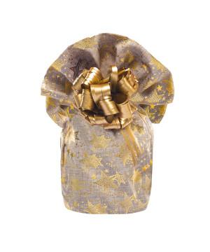 Sacco Portapanettone Tessuto Stelle Oro Naturale