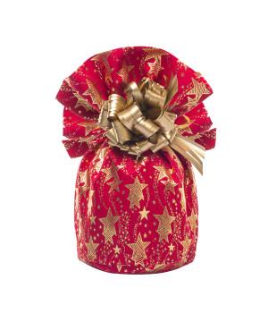 Sacco Portapanettone Tessuto Stelle Oro Rosso