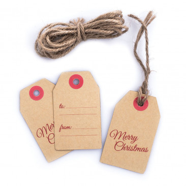 Tag Carta Kraft Merry Christmas