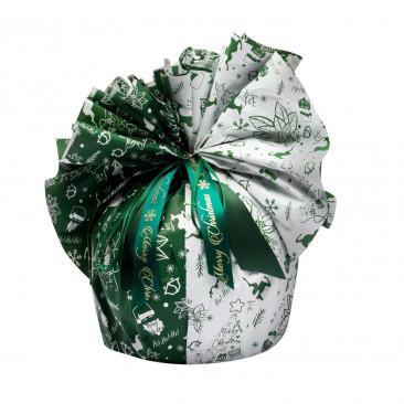 Fogli Tondi per Panettone Happy Xmas Verde