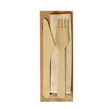 Kit Forchetta e Coltello in legno con Tovagliolo