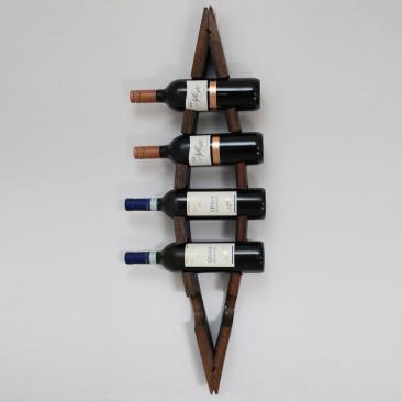 Portabottiglie da parete in legno tinto Noce