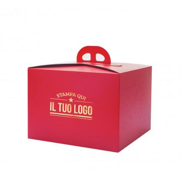 Scatola per Panettone Personalizzata Cartone Liscio Rosso