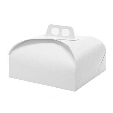 Scatola per torta quadrata damascato Bianco