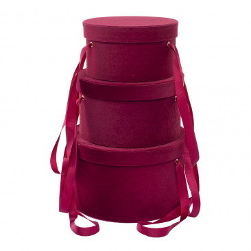Set Cappelliere in Velluto Bordeaux