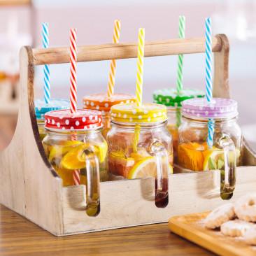 Set Porta Drink in Legno con Jar