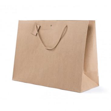Shopper Carta Kraft con Tag & Foro Avana