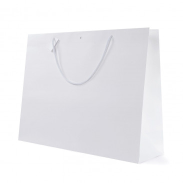 Shopper Carta White con Tag & Foro Bianco