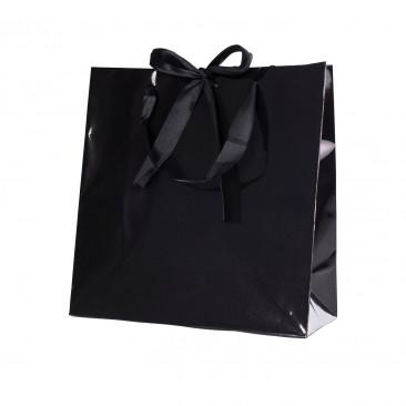 Shopper Carta Lusso Finiture Raso Nero