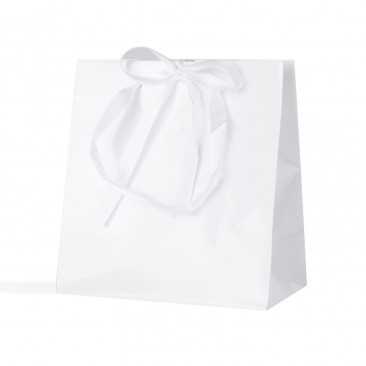 Shopper Carta Lusso Finiture Raso Bianco