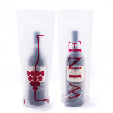 Shopper Plastica Wine  Trasparente