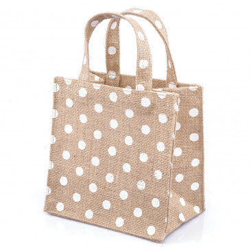 Shopper Juta a Pois Naturale