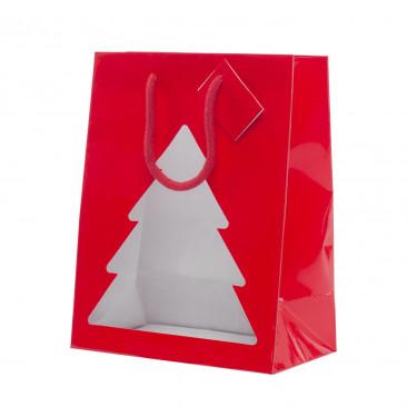 Shopper Carta Lucida con Vetrina Albero Rosso