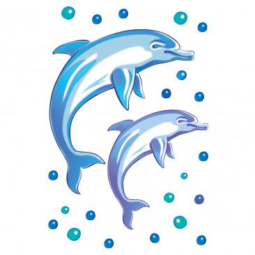 Vetrofania Delfini e Bolle