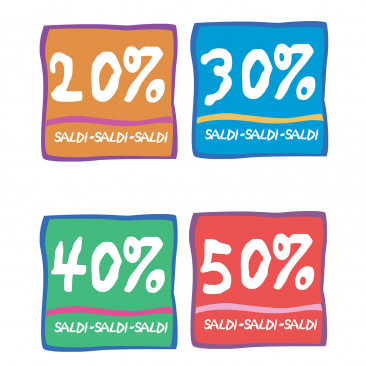Vetrofanie Saldi Sconto percentuale Mix Colori