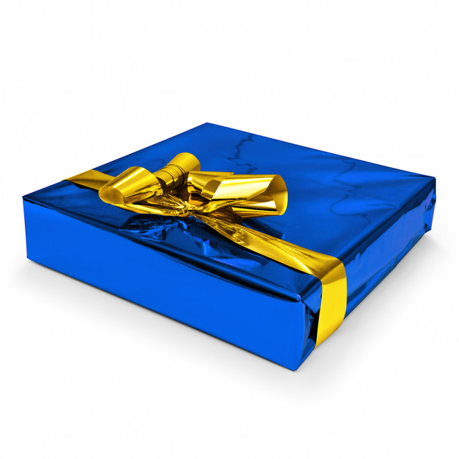 Carta Regalo Metallizzata Blu