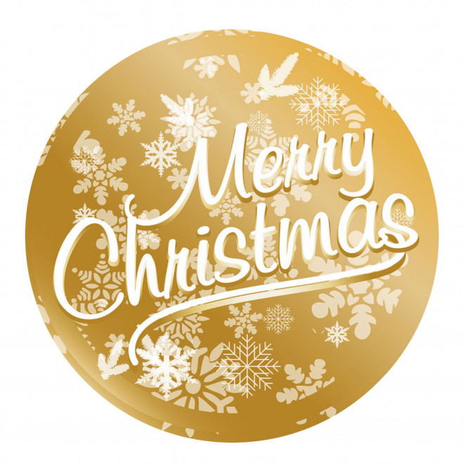 Etichetta Adesiva Merry Christmas Metal Oro